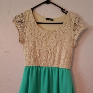 Lace and turquoise dress